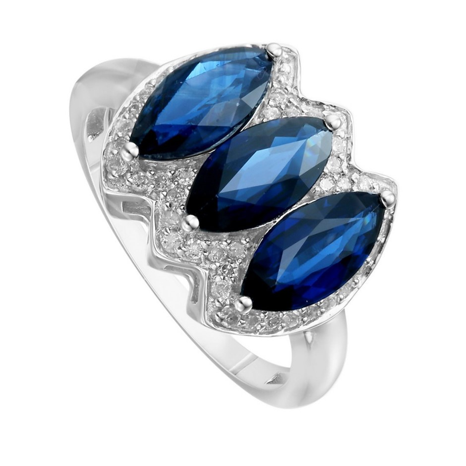 9ct White Gold, 2.97ct Blue Sapphire and Diamond Ring