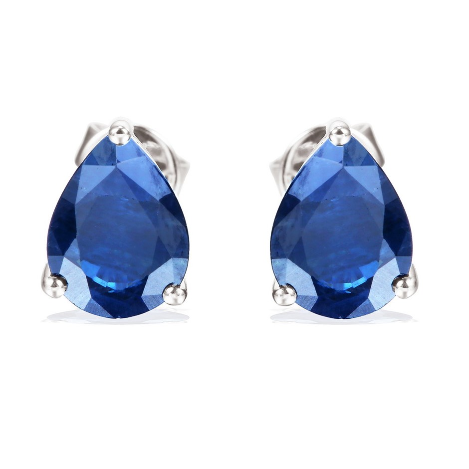 9ct White Gold, 2.50ct Blue Sapphire Earring