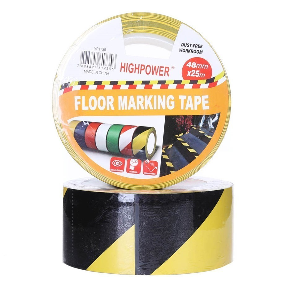 4 x Rolls Floor Marking Safety Tape 48mm x 25M Yellow/Black. Buyers Note -