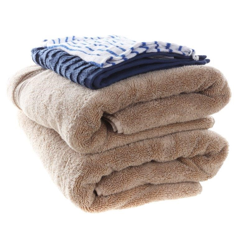 4 x Assorted Bath & Face Towels, Brown & Navy. N.B. 1 x stained. (SN:CC7456