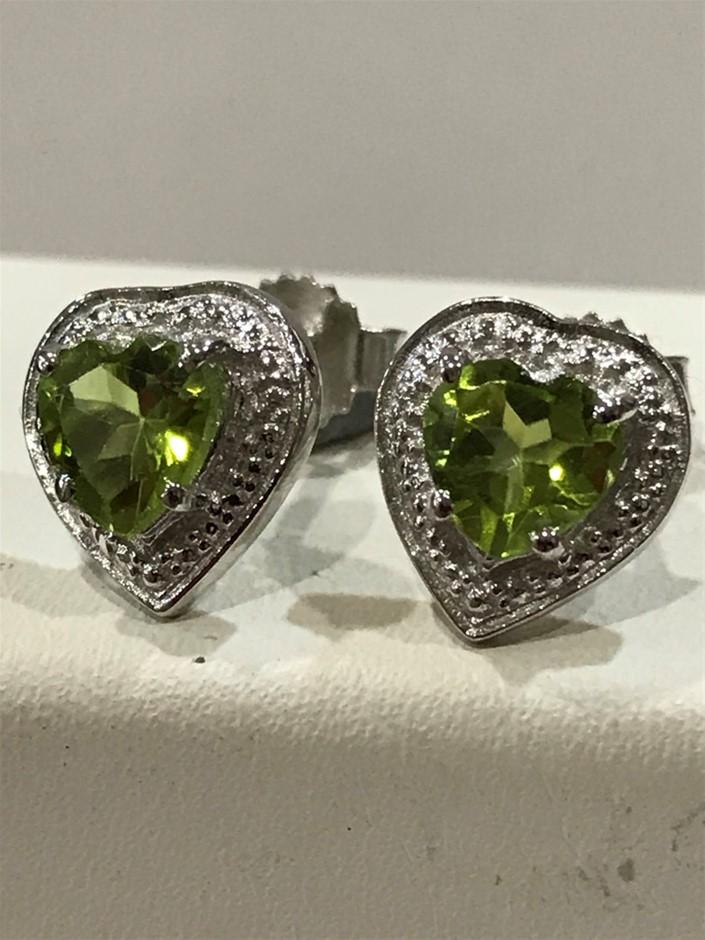 "Glorious ""Heart"" Peridot, Genuine 3.80ct & 18K W/Gold Vermeil Earrings"