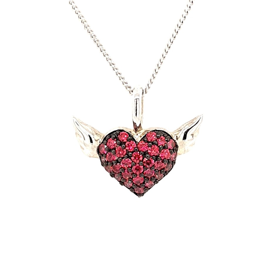 Sterling Silver Dark Pink Crystal Flying Heart Necklace