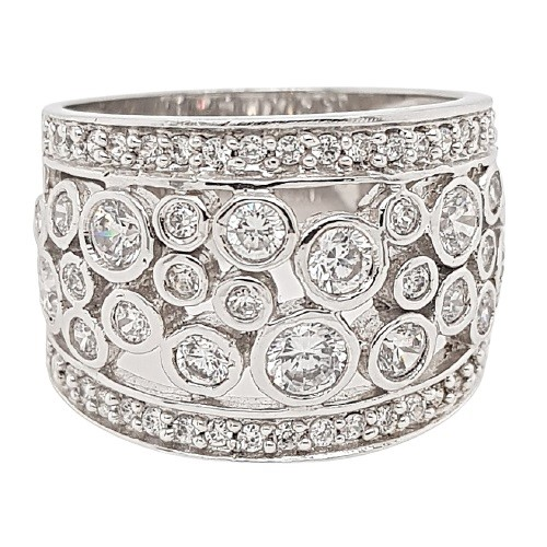 Sterling Silver White CZ Wide Dress Ring