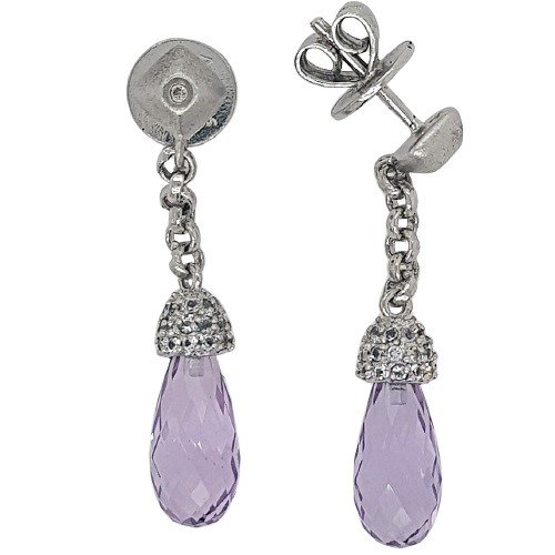 AMELLEE Sterling Silver Amethyst & White CZ Faceted Briolette Earrings