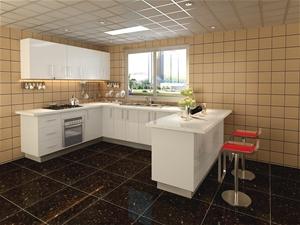Gloss white vinyl sub style u shape flat pack kitchen for Flat pack kitchen cabinets