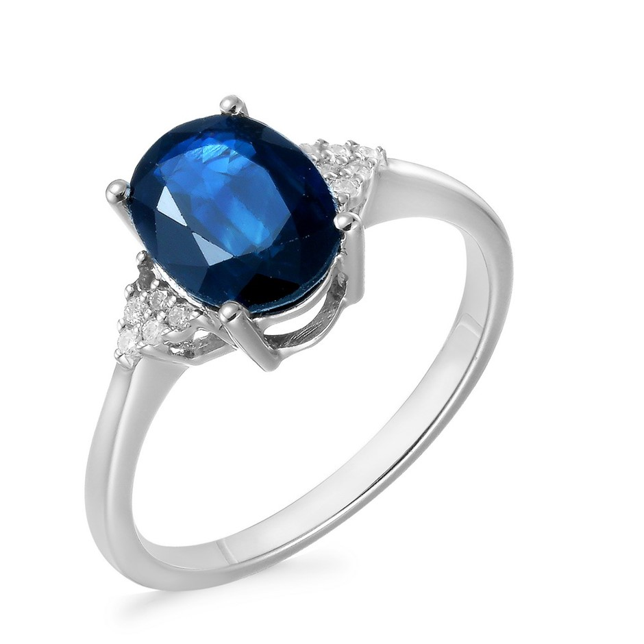 9ct White Gold, 2.31ct Blue Sapphire and Diamond Ring