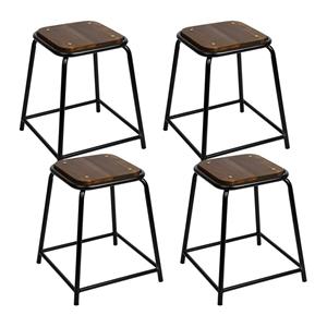 Artiss Set of 4 Pine Wood Bar Stools - B