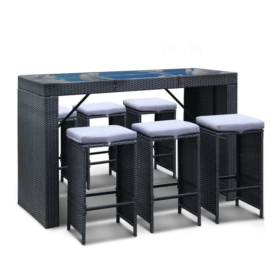 Gardeon Outdoor Furniture Dining Bar Table and Stools Set 6 Chairs Patio