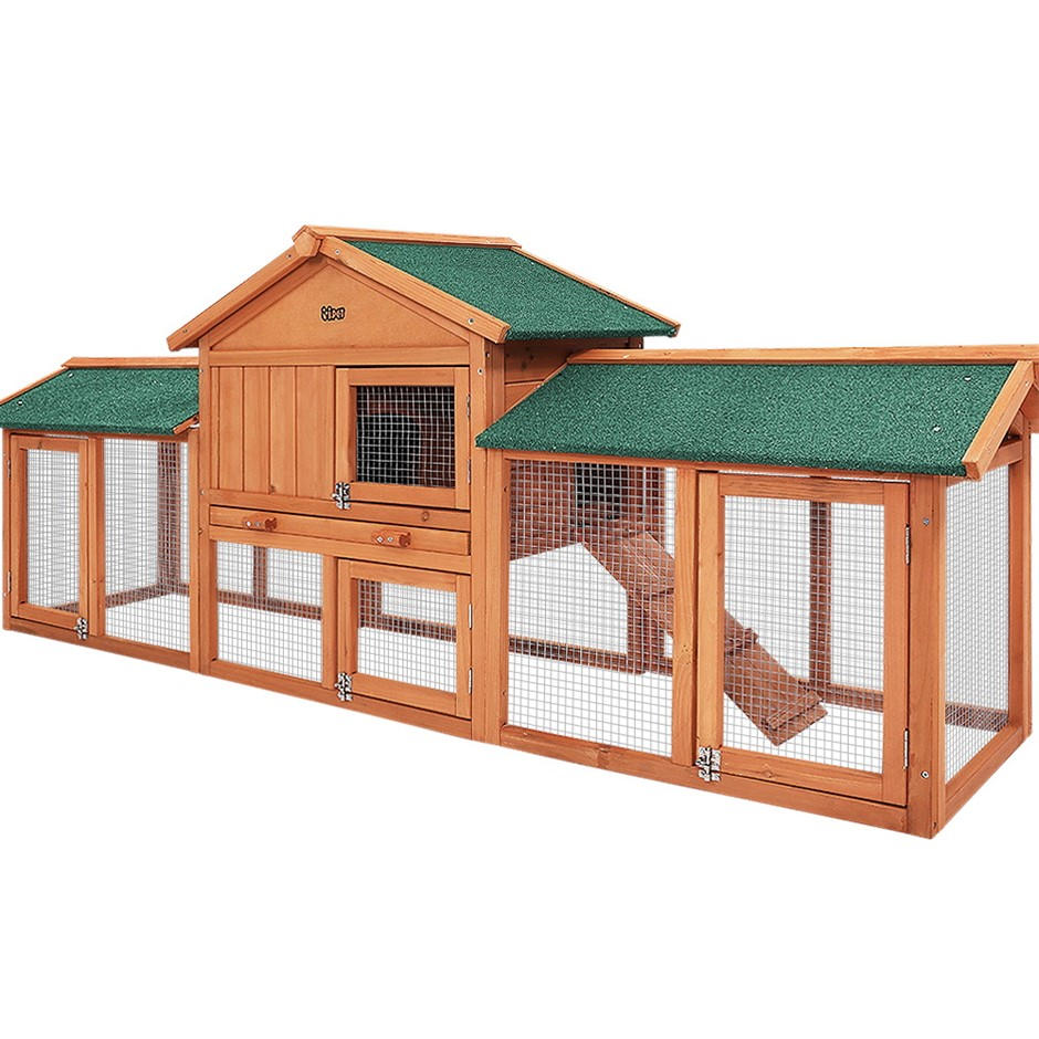 i.Pet Rabbit Hutch Large Metal Run Wooden Cage Chicken Coop Guinea Pig