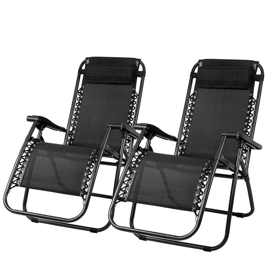 Gardeon Zero Gravity Chairs 2PC Reclining Outdoor Furniture Sun Lounge Blk