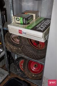 4x Wheel Barrow Tyres & Rims with 3x Spa