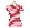 TOMMY HILFIGER Women`s Stripe Crew T-Shirt, Size S, 100% Cotton, Tango Red/