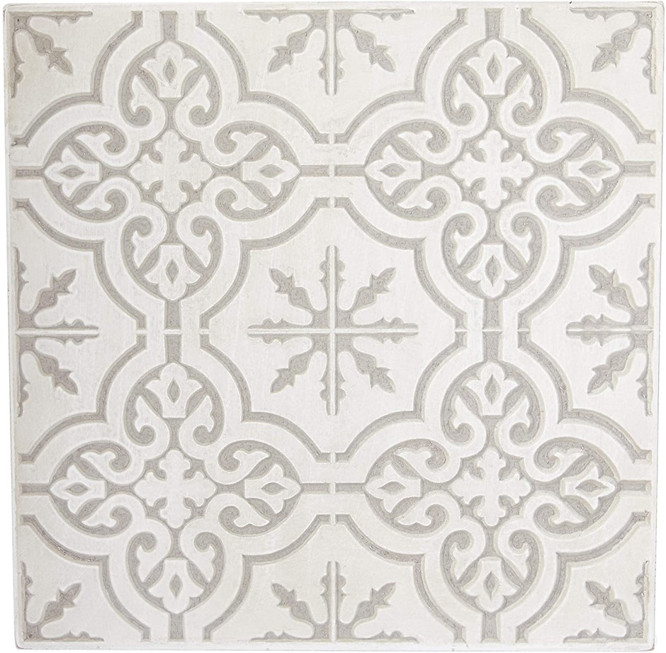 Darlin Square Carved Wood Panel - White