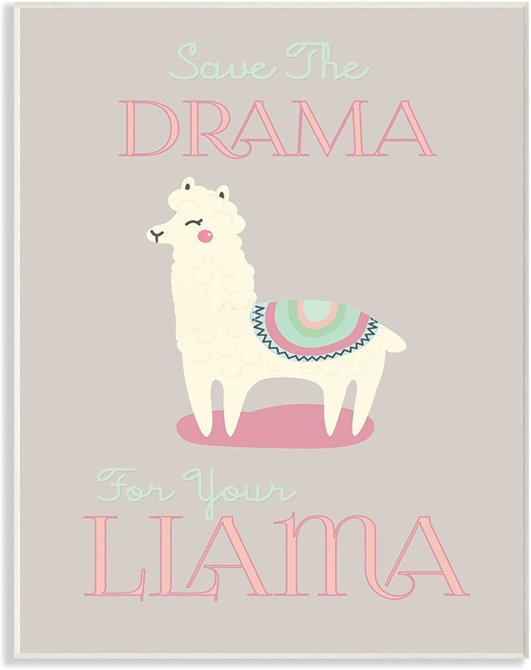 The Stupell Home Décor Collection Boho Drama Llama Wood Plaque,13x19 Inches