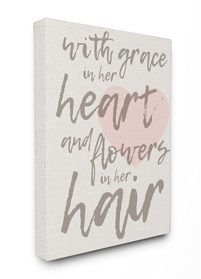 Stupell Industries Grace In Her Heart Flowers in Her Hair Canvas Wall Art