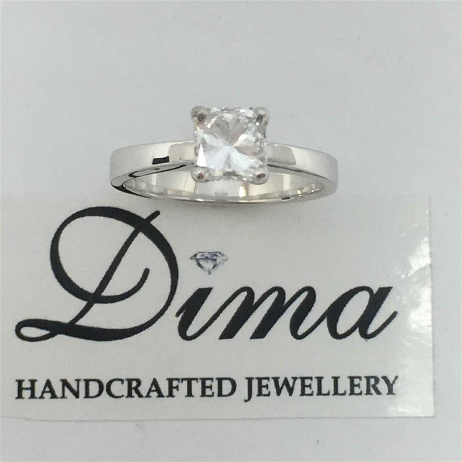 18ct White Gold, 0.90ct GIA Diamond Ring