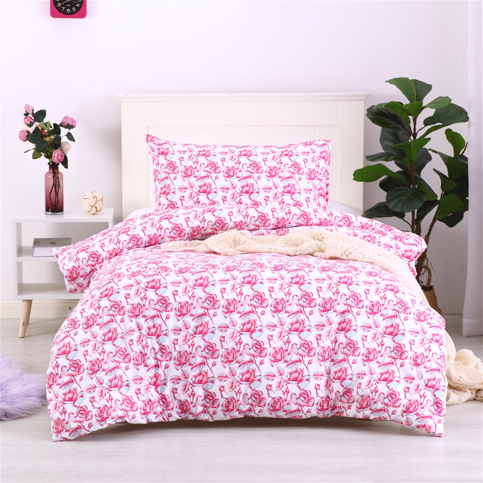 Dreamaker Printed Quilt Cover Set Essential Roses - Single Bed