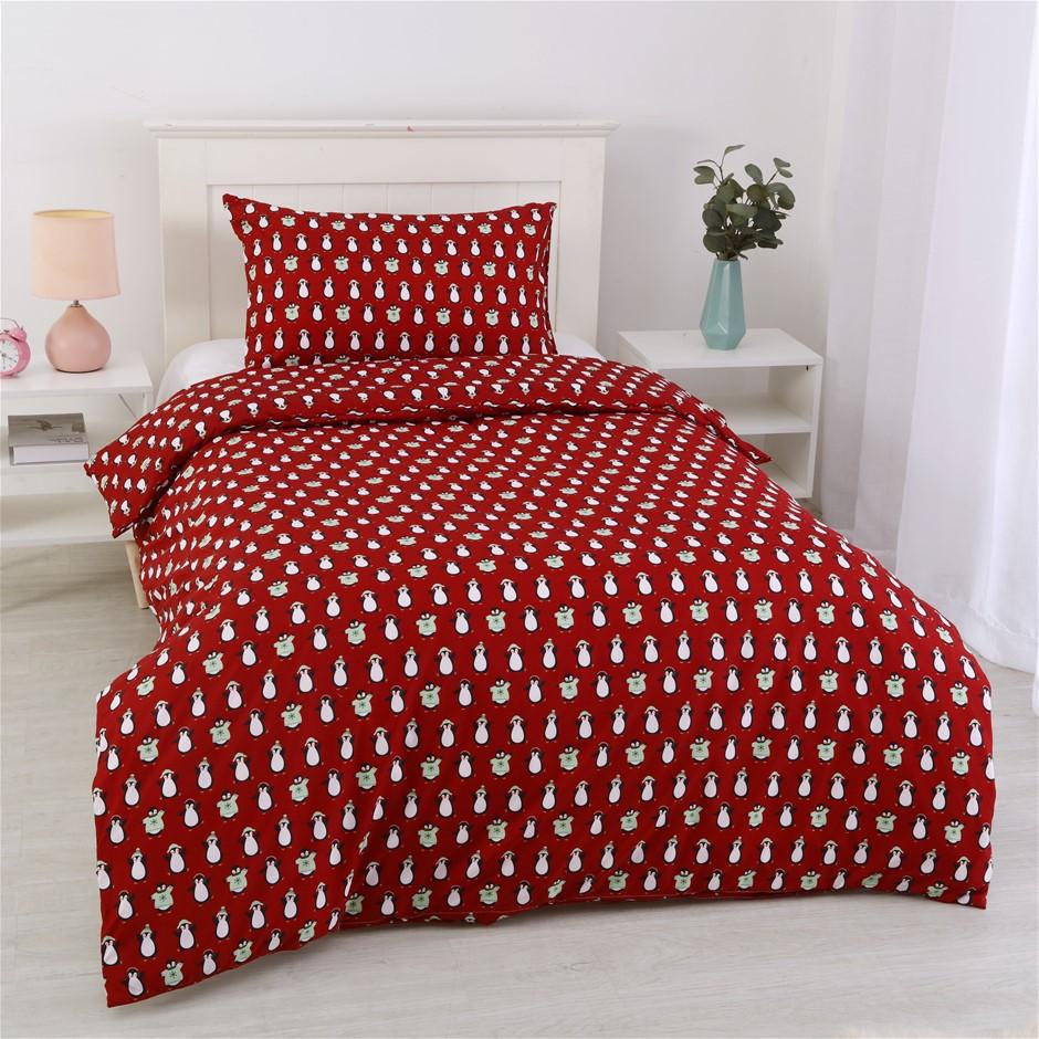 Dreamaker Printed Quilt Cover Set Red Penquins - Single Bed