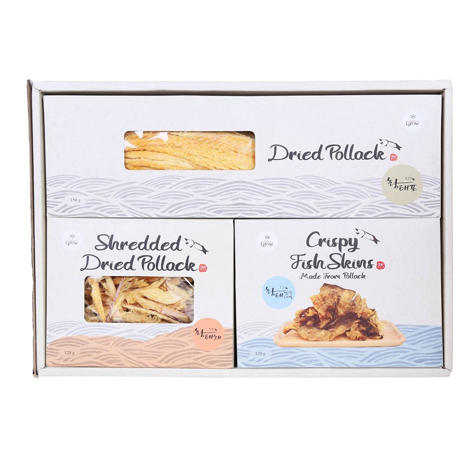 POLLACK Gift Set, Dried Pollack, Shredded Duck Pollack & Crispy Fish Skin.