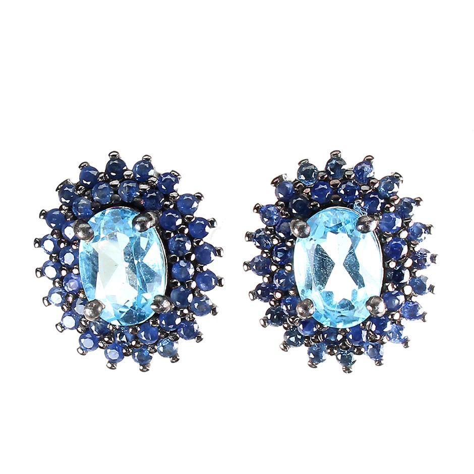 Striking Genuine Sapphire & Blue Topaz Earrings.