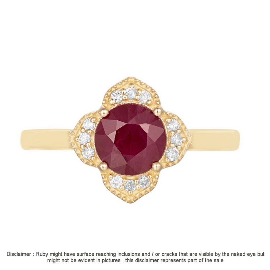 9ct Yellow Gold, 1.40ct Ruby and Diamond Ring