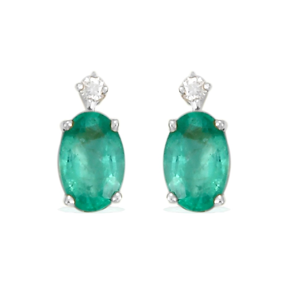 9ct White Gold, 0.88ct Emerald and Diamond Earring