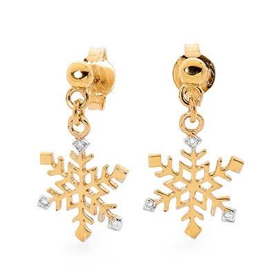 9ct Yellow Gold, 0.05ct Diamond Earring