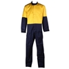 Pair PPC Cotton/Nylon Coveralls, Size 87R, Vented Under Arms, Yellow/Navy.