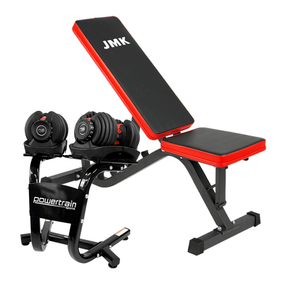 2x Powertrain 24kg Adjustable Dumbbells w/ Stand and Exercise Bench