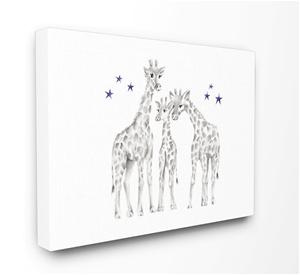 Giraffe Family Graphite Drawing Canvas W