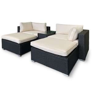 Rattan Outdoor 5pc Chairs Ottoman Table