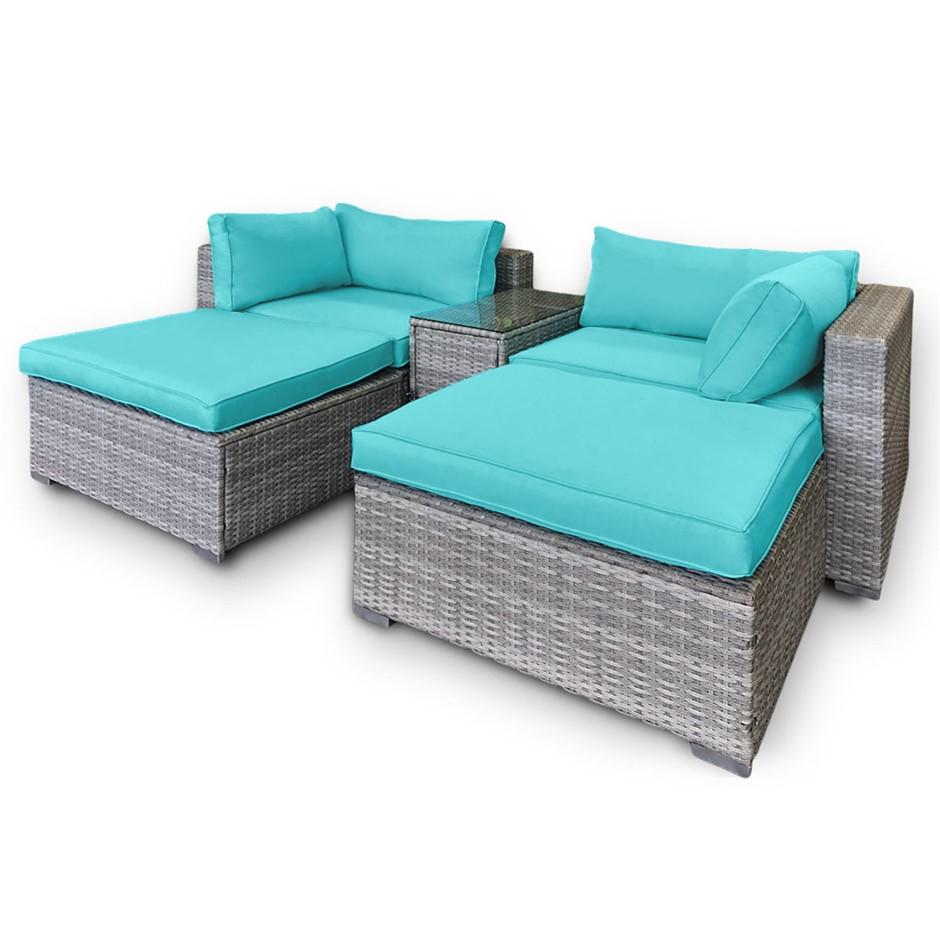 Rattan Outdoor 5pc Corner Chairs Ottoman Furniture Lounge - Aqua