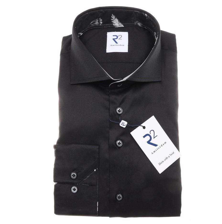 R2 AMSTERDAM Men`s LS Dress Shirt, Size 40 EU/ 15 3/4 UK, Colour: Black. N.