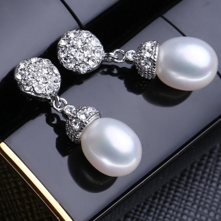 Genuine Freshwater Pearl Drop Earrings (White) - WITH JEWELLERY BOX