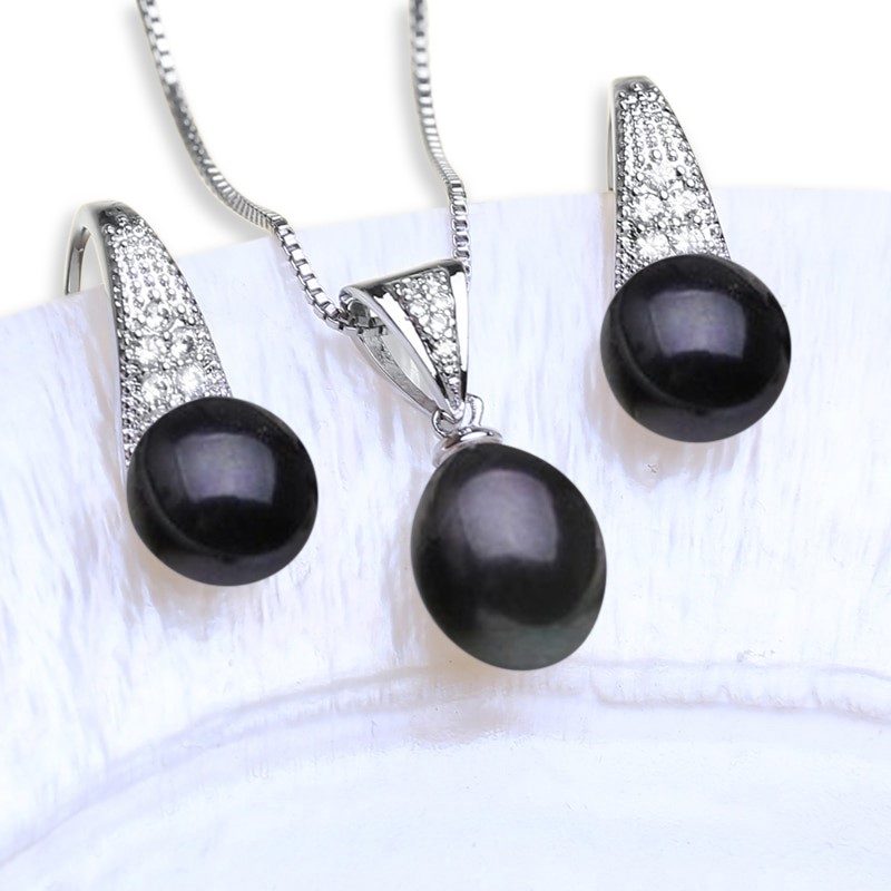 Freshwater Pearl Earring & Necklace Set (Black) - WITH JEWELLERY BOX