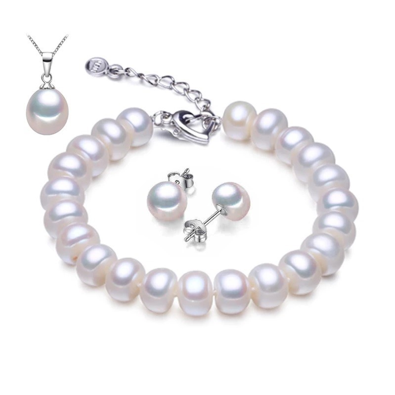 Freshwater Pearl Earring, Necklace & Bracelet Set - WITH JEWELLERY BOX