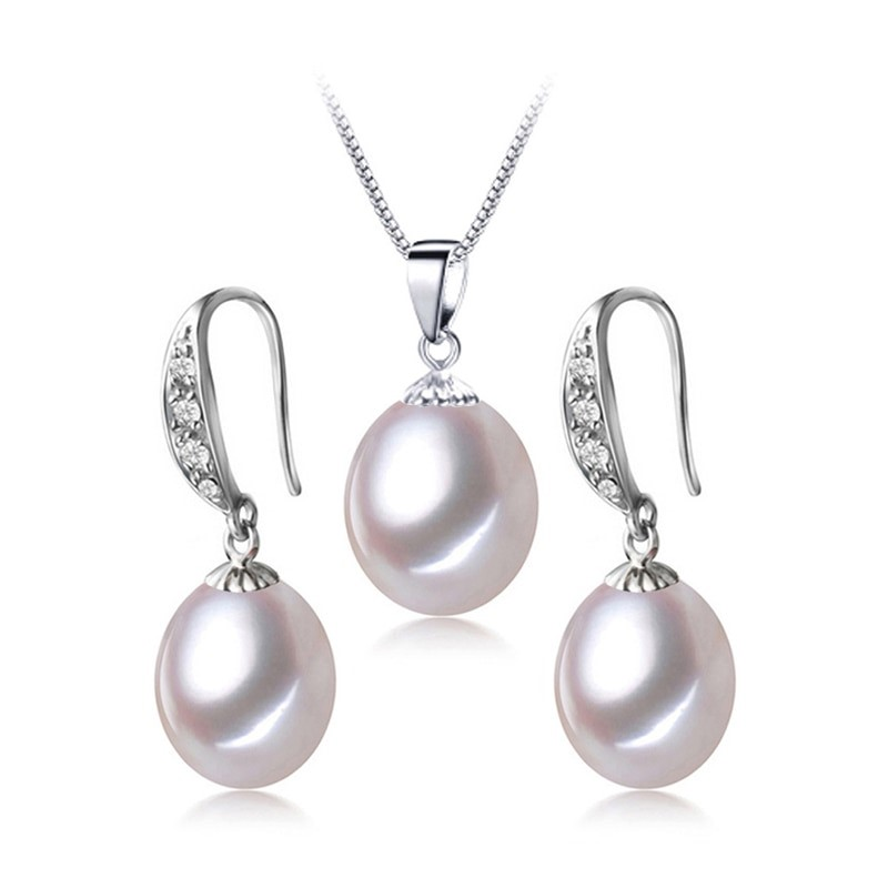 Freshwater Pearl Drop Earring & Necklace Set (White) - WITH JEWELLERY BOX