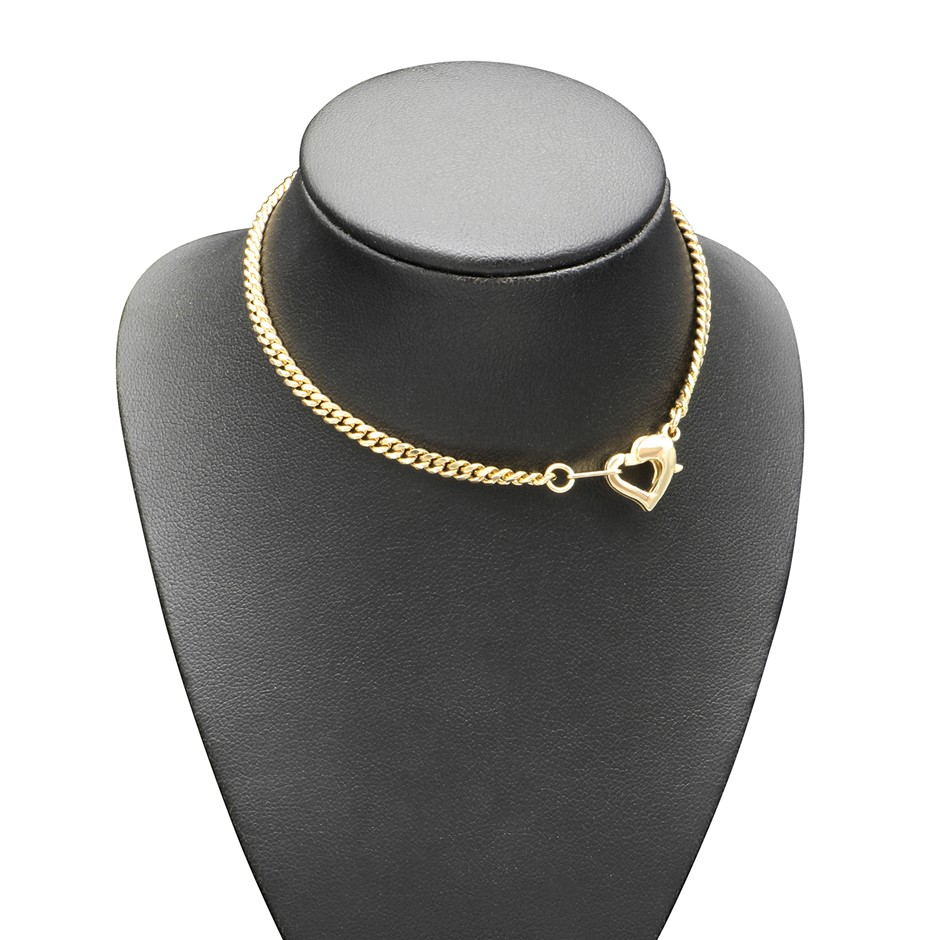 18ct Yellow Gold Plated Plain Chain with Heart Clasp