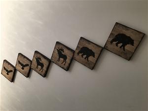 6 x Piece Timber Animal Stencil Artwork