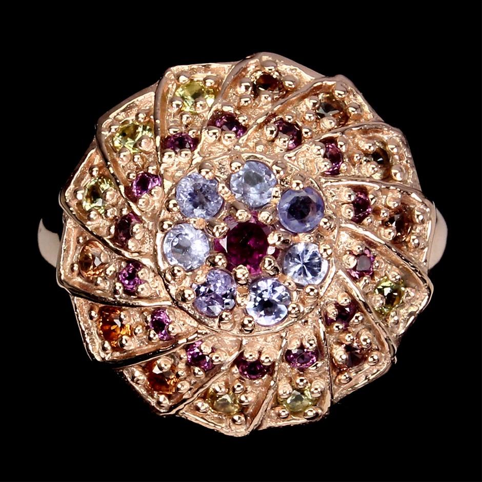 Amazing Genuine Tanzanite Sapphire & Garnet Statement Ring