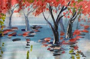Pink Trees- Original paintedl artwork si