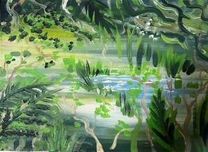 Rainforest Abstract - Original paintedl