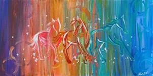 Technicolour horses - stretched canvas 7