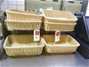 Qty 6 x Faux Cane Baskets with 2 x Metal Holder Stands