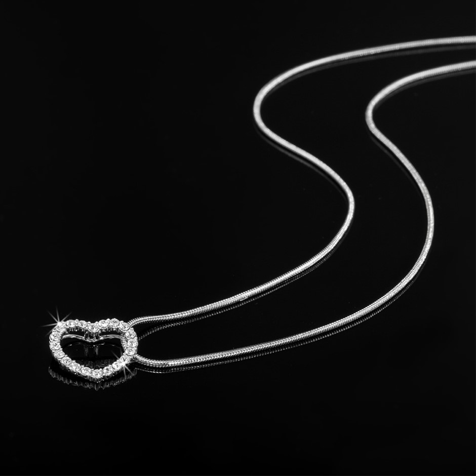 Solid 925 Sterling Silver Heart Pendant Featuring 22 Crystals by Swarovski®