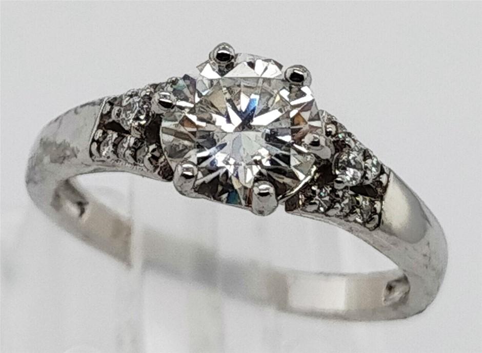 GRA Certified White Moissanite 0.87 Carat D - VVS1 Sterling Silver Ring