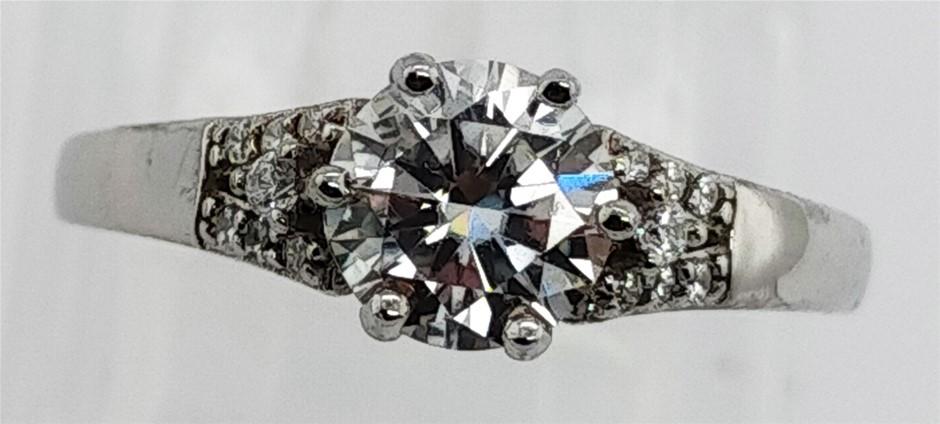 GRA Certified White Moissanite 0.92 Carats D - VVS1 Sterling Silver Ring