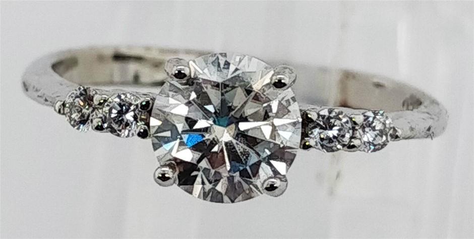 GRA Certified White Moissanite 0.98 Carat D - VVS1 Sterling Silver Ring