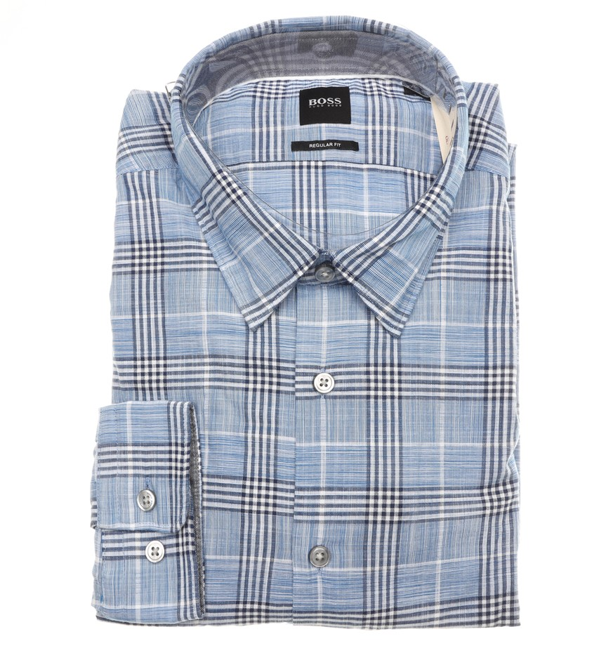 HUGO BOSS Men`s LS Regular Fit Shirt, Size M, RRP $199, Colour: Blue/ White