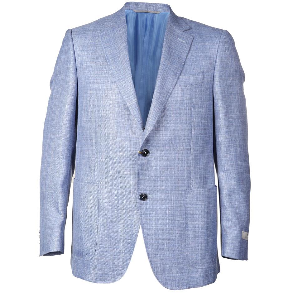CANALI Men`s Sports Jacket, Size 50 EU/ 40 UK, Wool/ Silk /Linen, Light Blu